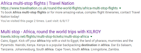 "Google search for ""Africa multi stop flights"""