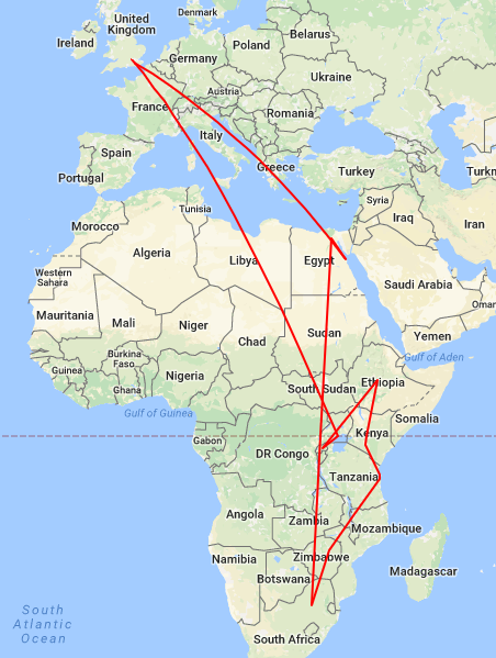 Africa flight map route