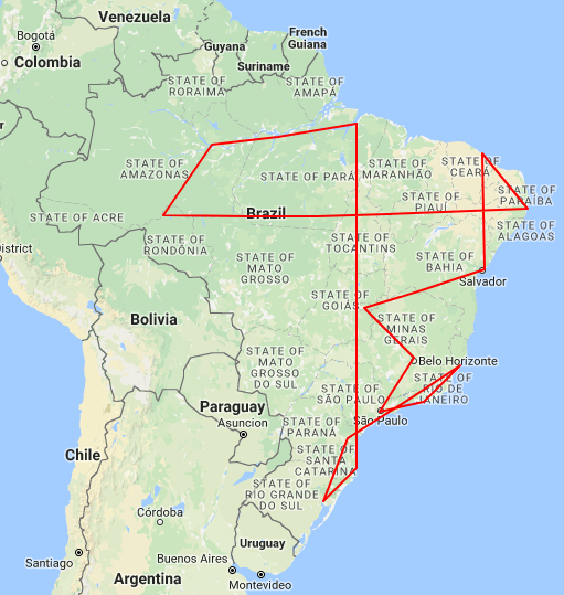 Brazil Flight Map