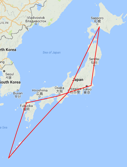 Japan Flight Map
