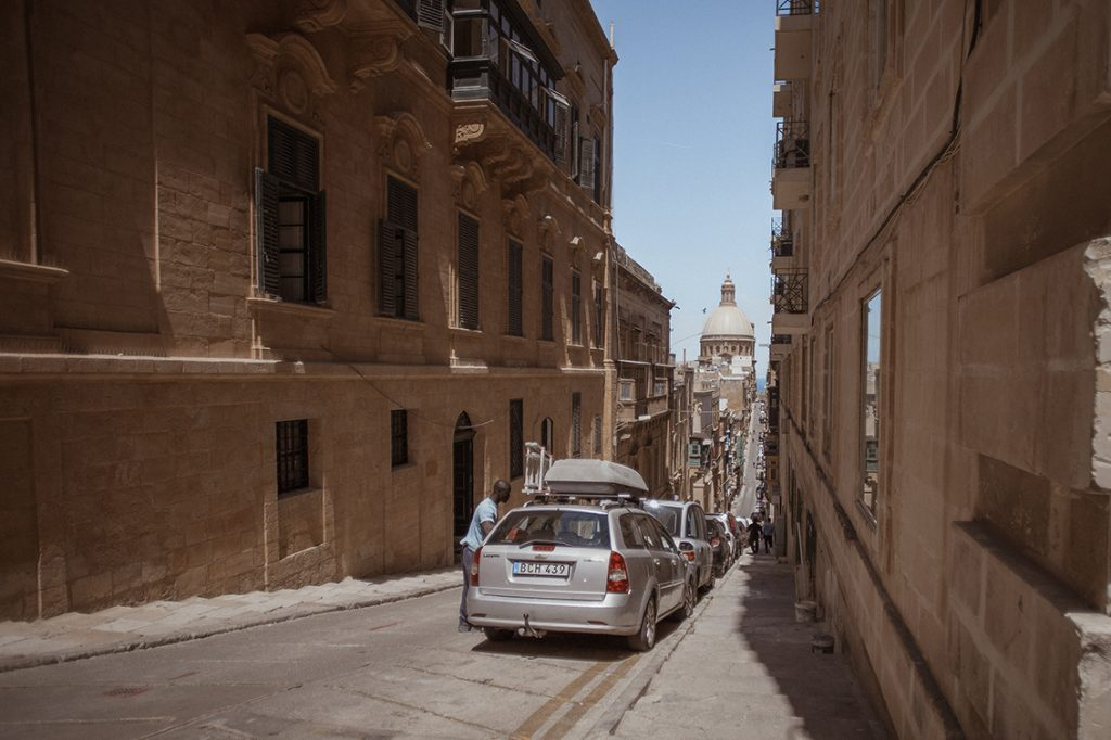 straight streets of Valetta city, Malta