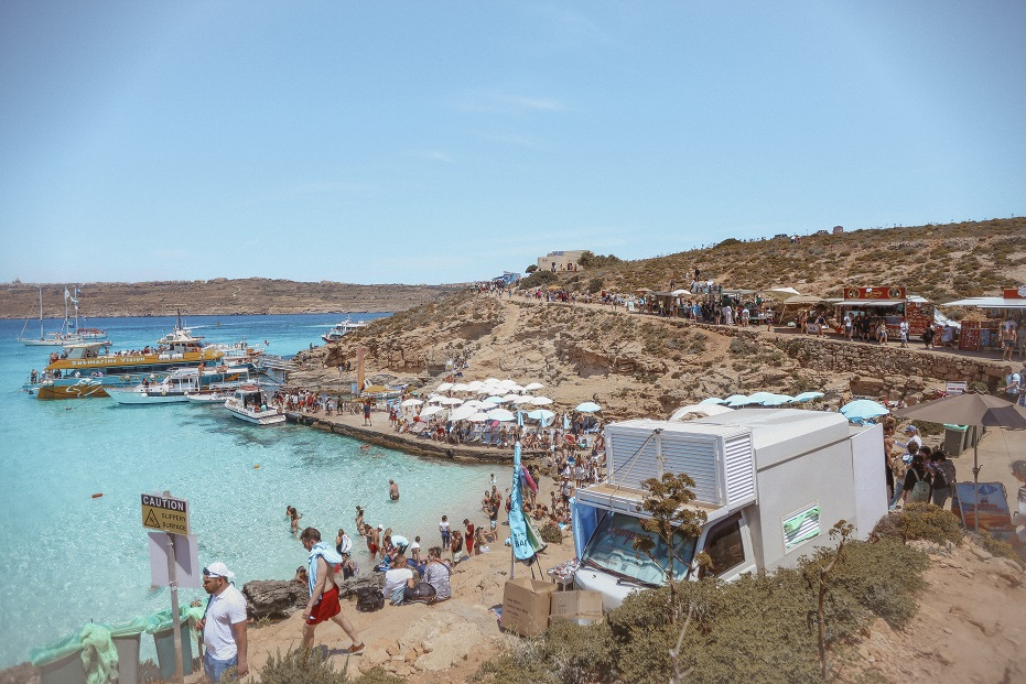 Blue Lagoon in the afternoon - crowded by thousands of tourists