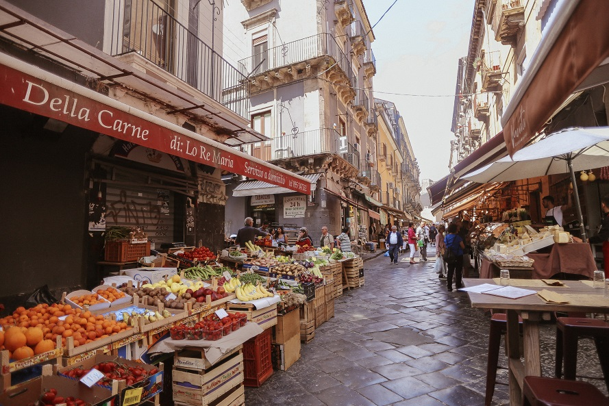 Colorful market rows in Sicily