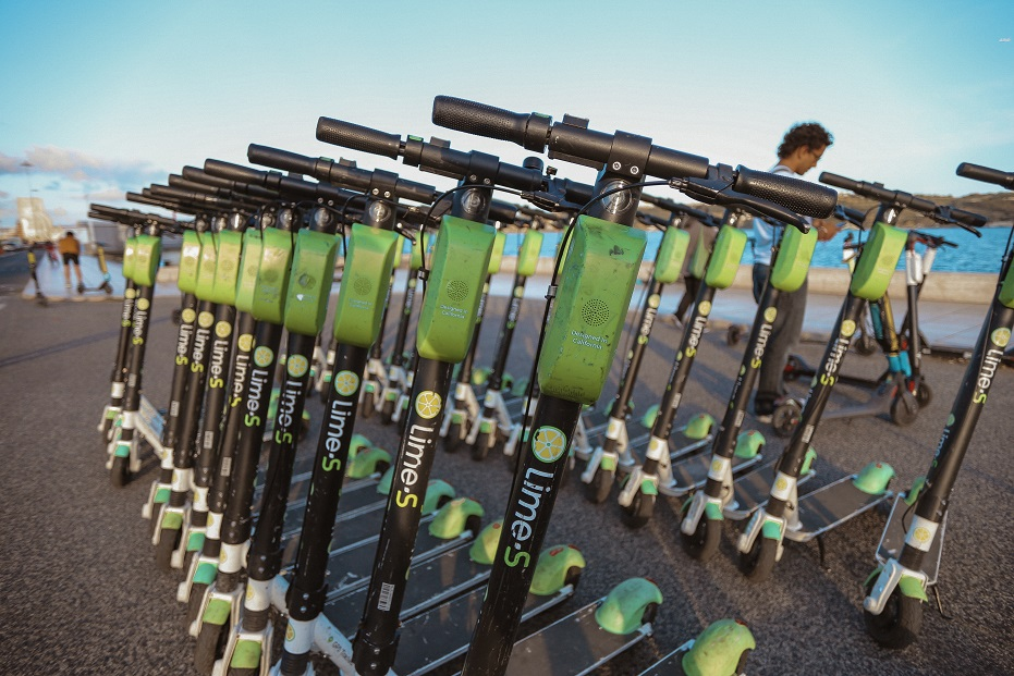 Lime scooters in Lisbon