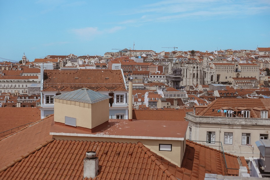 Lisbon city view from the top of Sao Vicente De Fora monastery