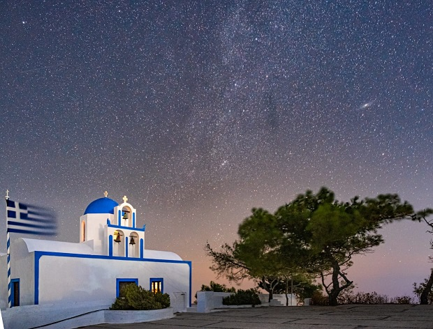 Star sky over Santorini
