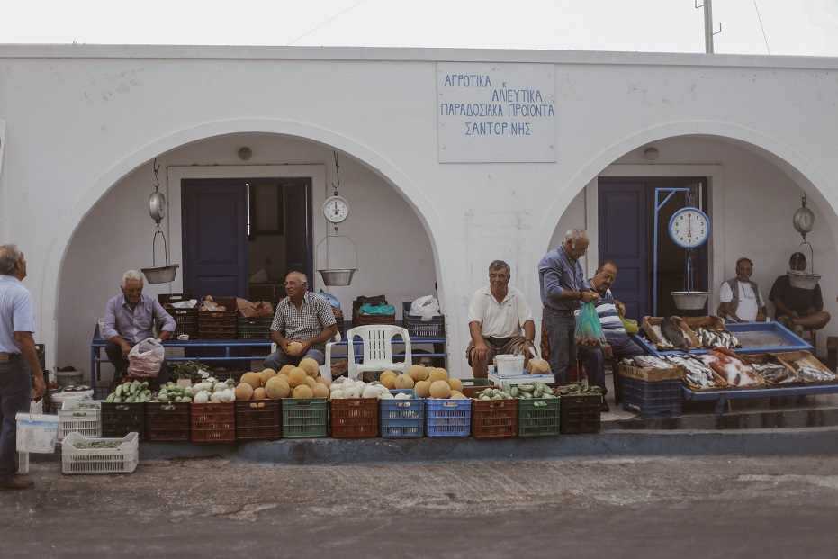 Street sellers of fruits and vegetables in Fira
