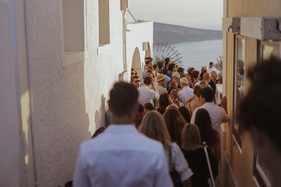 "The crowded way to the ""sunset view"" part of Oia city"