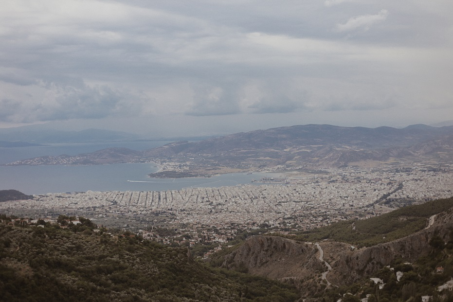 Volos city view from the mountain
