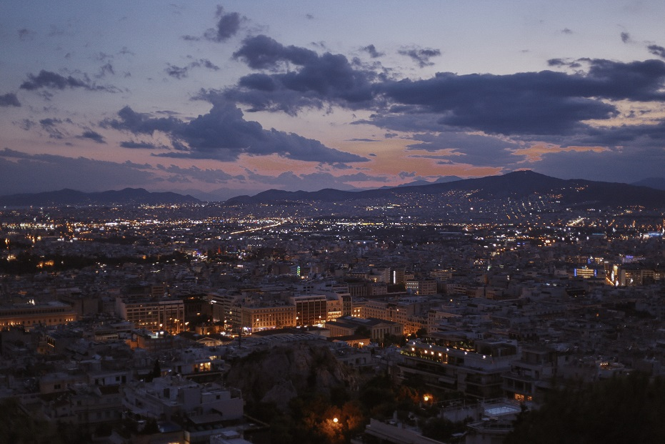 City view after the sunset from the Lycabettus Hill